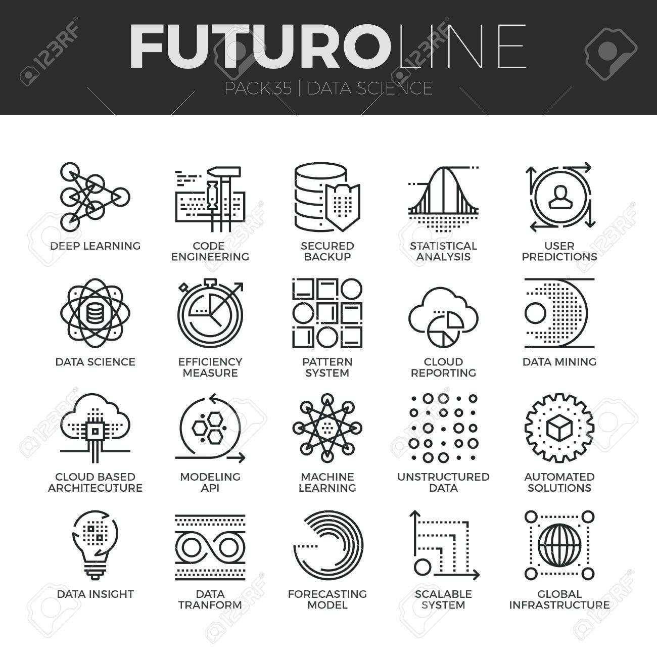Modern thin line icons set of data science technology and machine learning process. Premium quality outline symbol collection. Simple mono linear pictogram pack. Stroke vector logo concept for web graphics. - 52341028