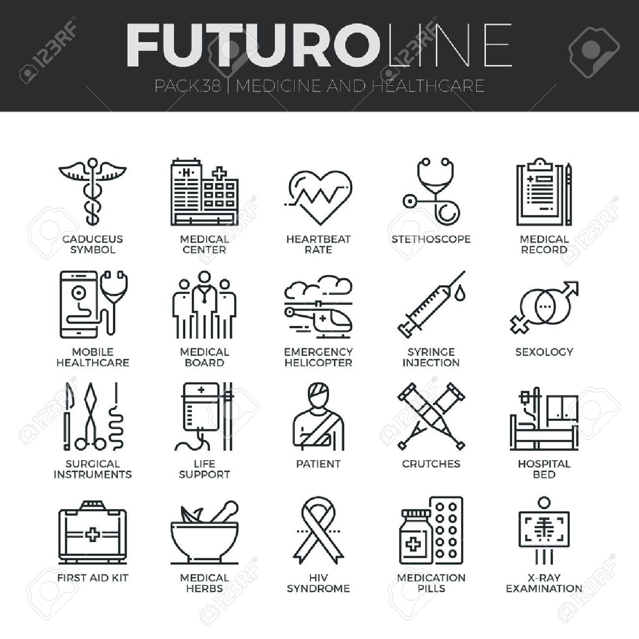 Modern thin line icons set of healthcare professionals and medical equipment. Premium quality outline symbol collection. Simple mono linear pictogram pack. Stroke vector logo concept for web graphics. Stock Vector - 52341030