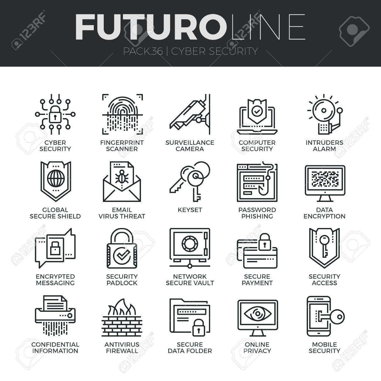 Modern thin line icons set of cyber security, computer network protection. Premium quality outline symbol collection. Simple mono linear pictogram pack. Stroke vector logo concept for web graphics. - 52341026