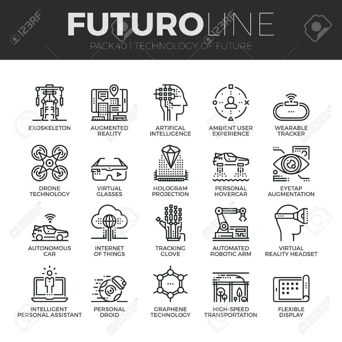 Modern thin line icons set of future technology and artificial intelligent robots. Premium quality outline symbol collection. Simple mono linear pictogram pack. Stroke vector logo concept for web graphics. Stock Vector - 52341031