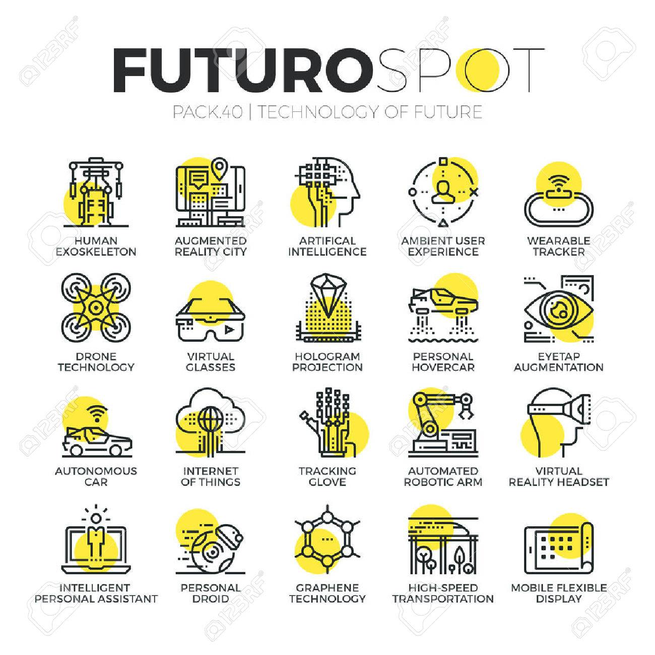 Stroke line icons set of future technology and AI innovations for humans. Modern flat linear pictogram concept. Premium quality outline symbol collection. Simple vector material design of web graphics. - 53143253