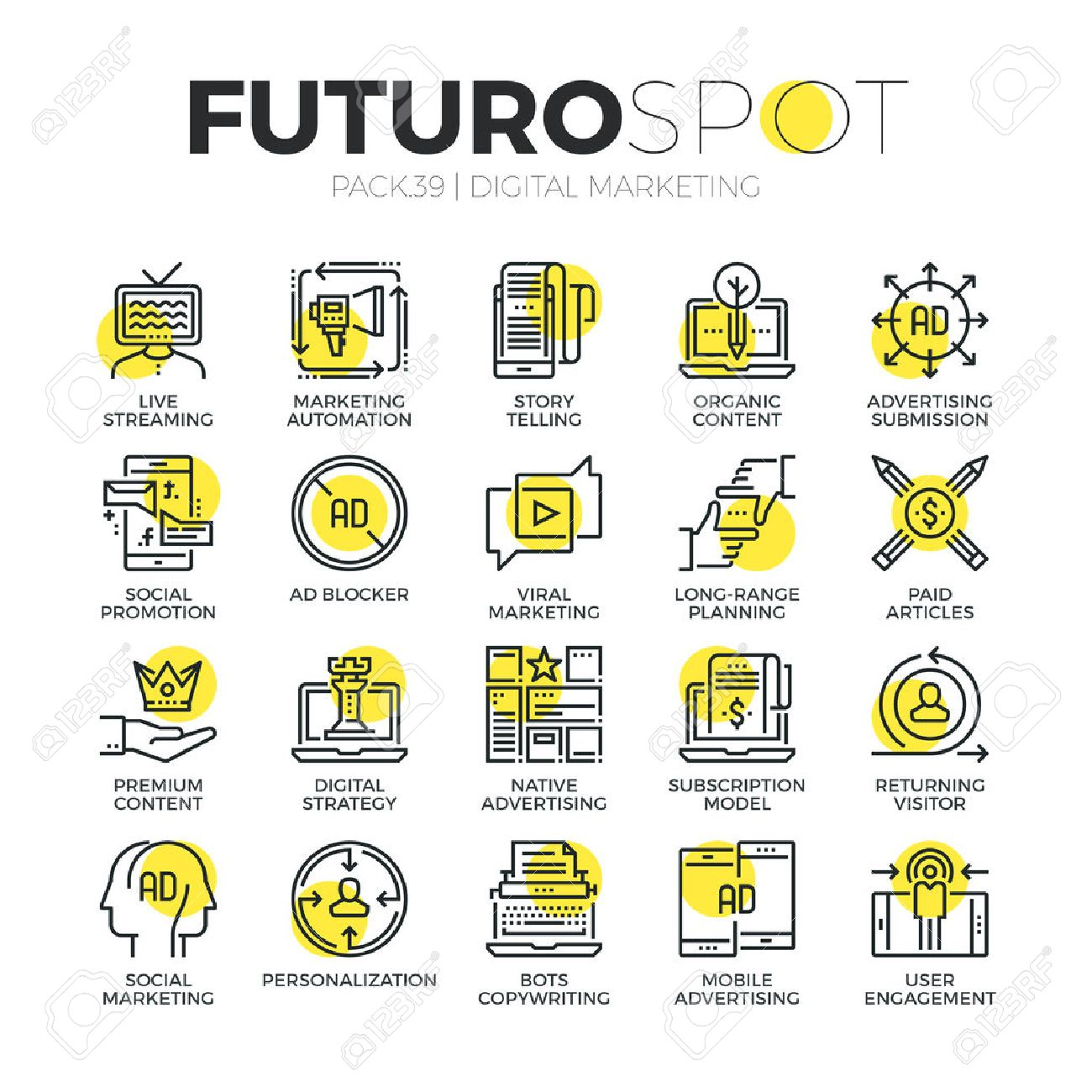 Stroke line icons set of digital media, content marketing, live streaming. Modern flat linear pictogram concept. Premium quality outline symbol collection. Simple vector material design of web graphics. - 53143256