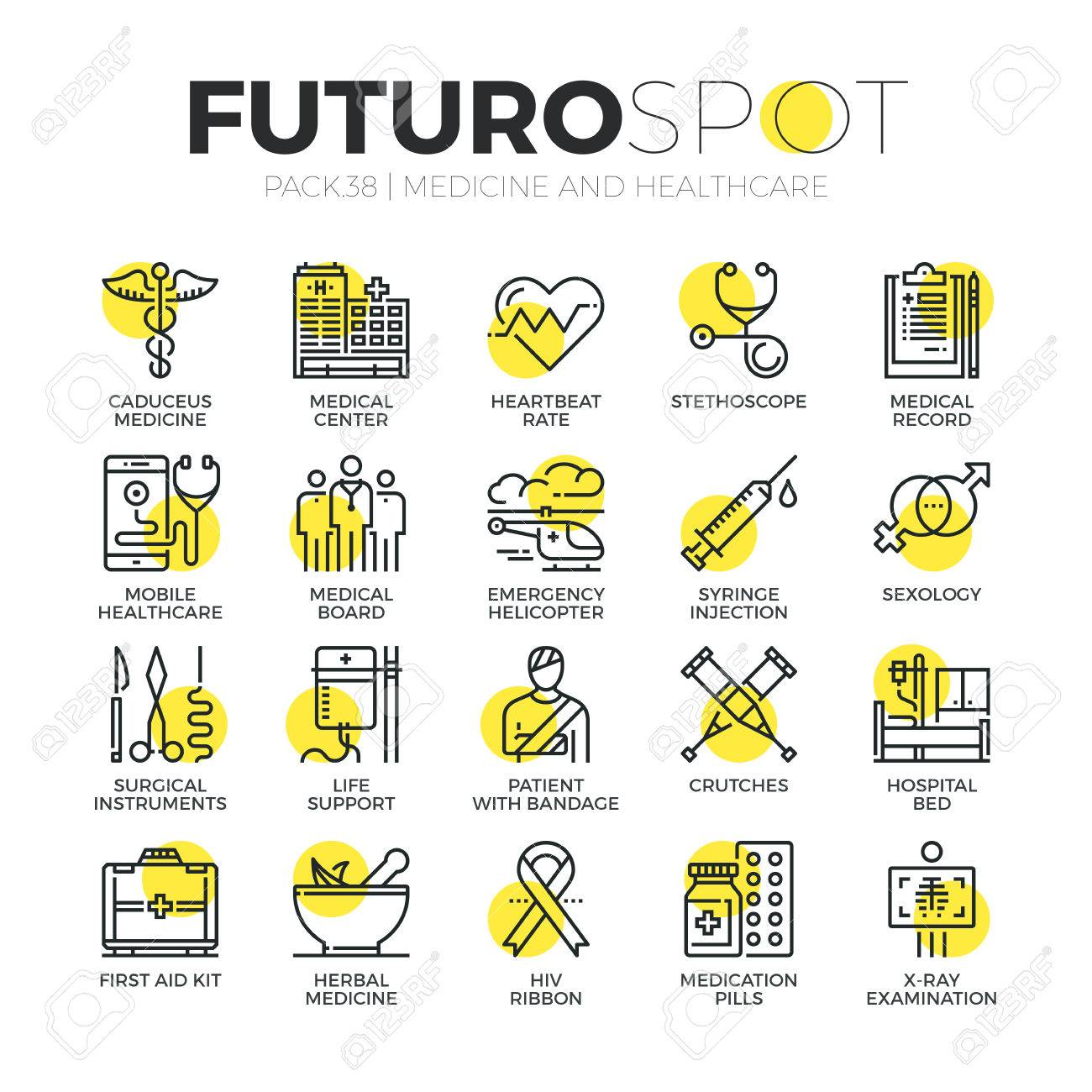 Stroke line icons set of healthcare professionals and medical equipment. Modern flat linear pictogram concept. Premium quality outline symbol collection. Simple vector material design of web graphics. - 53143258