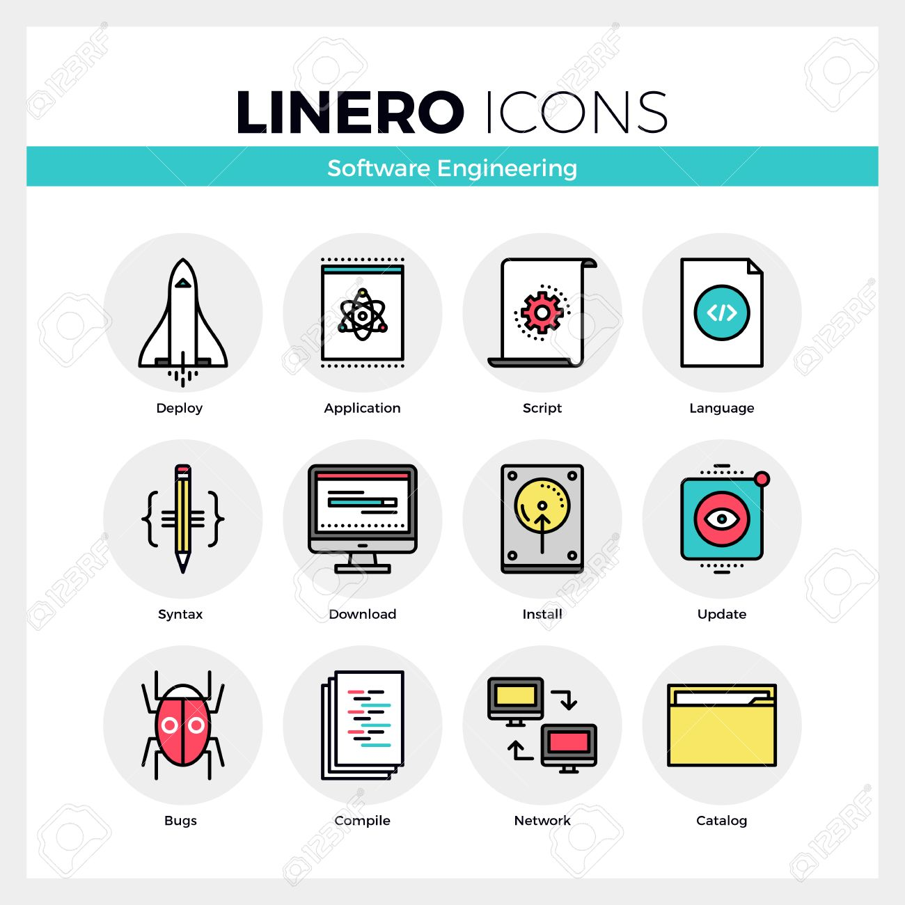 Line Icons Set Of Software Engineering Tools For App Debug Modern