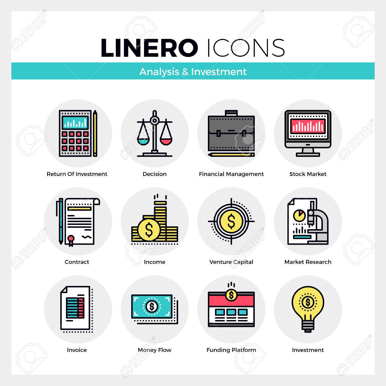 Line icons set of business analysis and market investment. Modern color flat design linear pictogram collection. Outline vector concept of mono stroke symbol pack. Premium quality web graphics material. - 53143273