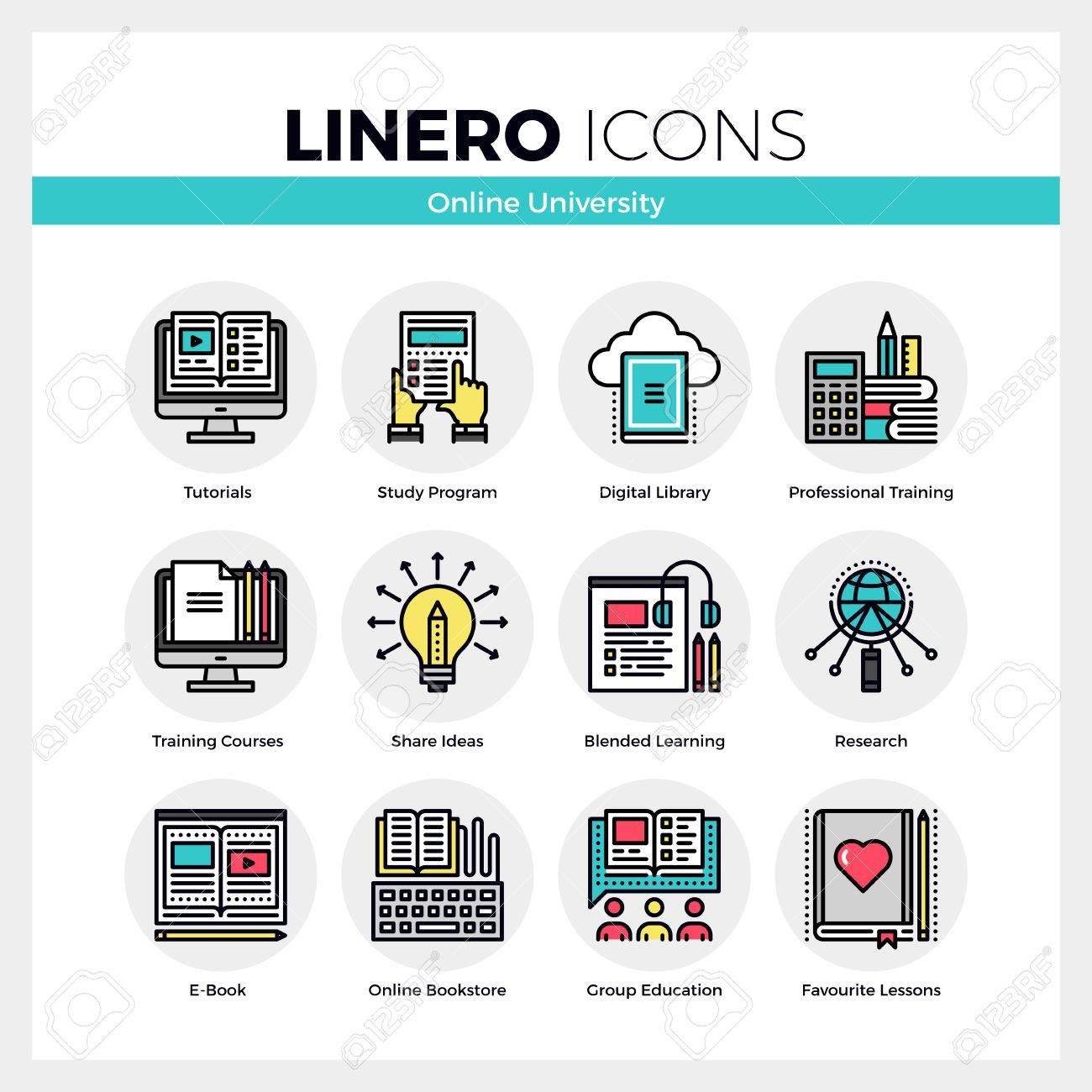 Color on online - Line Icons Set Of Online University Learning Group Study Modern Color Flat Design Linear