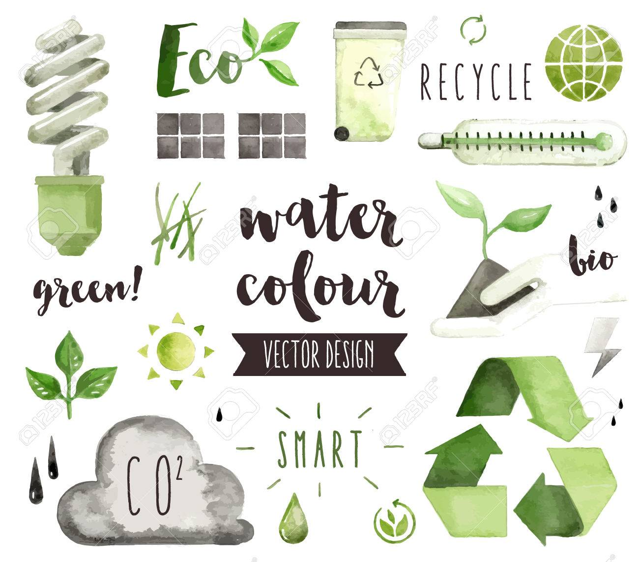 Premium quality watercolor icons set of environmental problem, green energy saving. decoration with text lettering. Flat lay watercolour objects isolated on white background. - 53856855