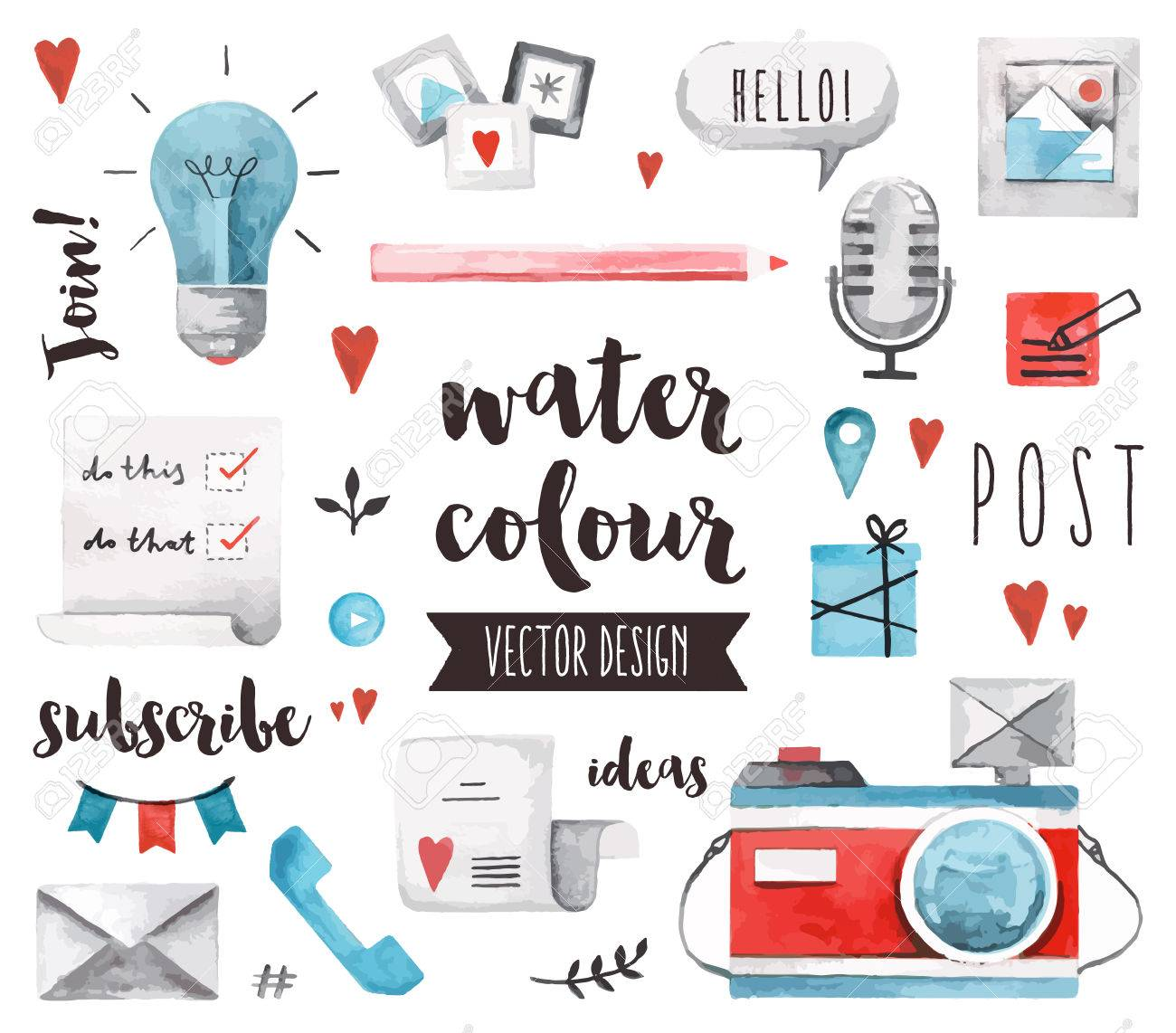 Premium quality watercolor icons set of social media content posting and blogging.realistic decoration with text lettering. Flat lay watercolour objects isolated on white background. Stock Vector - 53856863