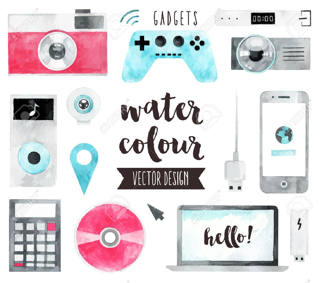 Premium quality watercolor icons set of smart media devices and personal gadgets. realistic decoration with text lettering. Flat lay watercolour objects isolated on white background. Stock Vector - 53856869