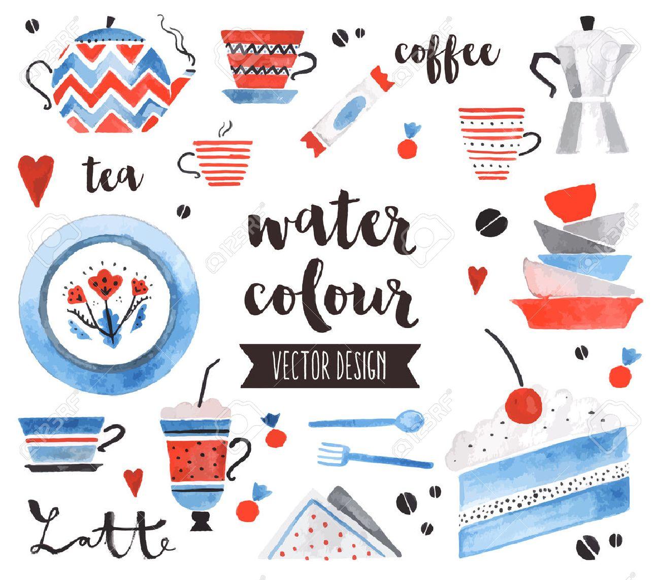 Premium-Qualität Aquarell-Icons Set von traditionellen Teekanne, helle Keramikplatten. Dekoration mit Textbeschriftung. Flache Laien Aquarell Objekte auf weißem Hintergrund isoliert. Standard-Bild - 53856865