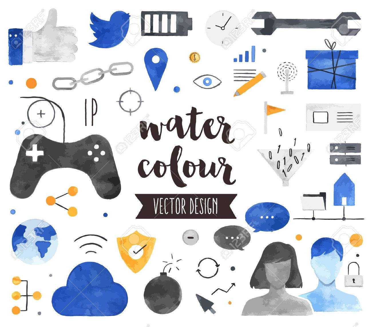 Premium quality watercolor icons set of people connection, social gaming community. Hand drawn realistic decoration with text lettering. Flat lay watercolour objects isolated on white background. - 54788334