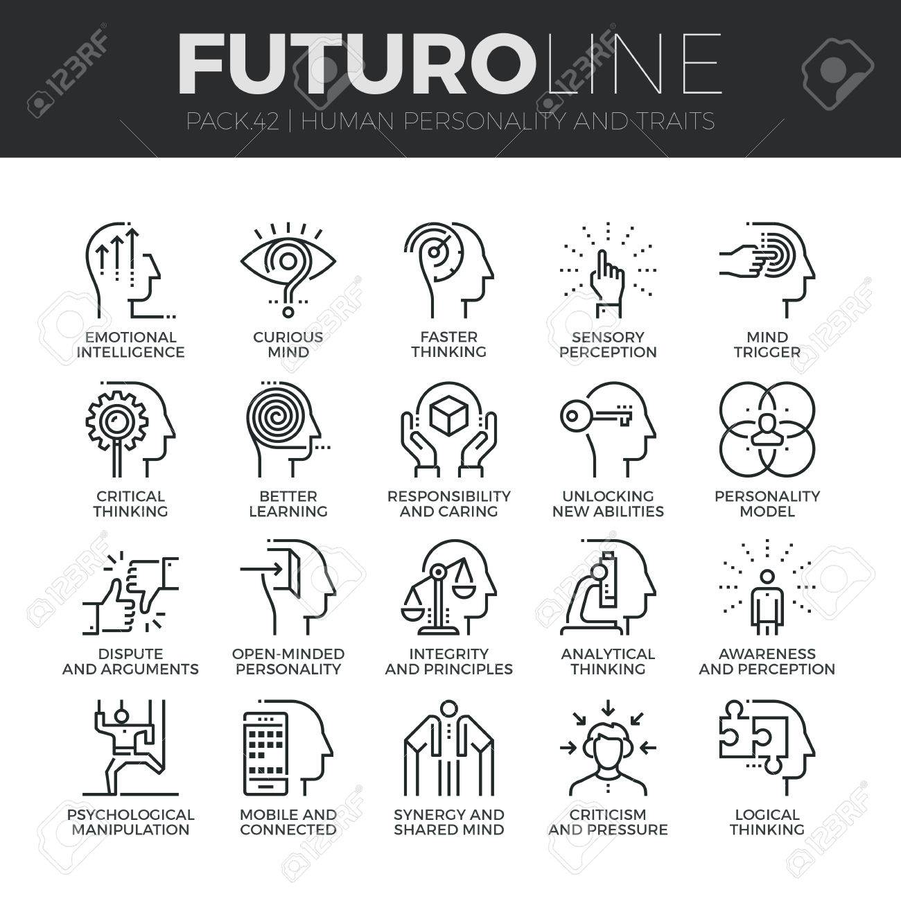 modern thin line icons set of human personality thinking traits modern thin line icons set of human personality thinking traits mind abilities premium