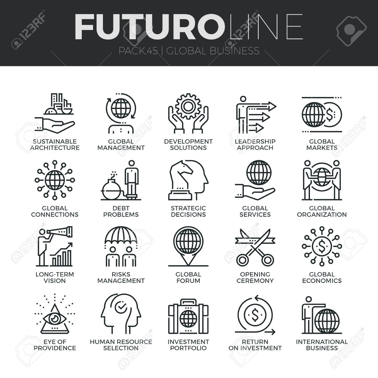 Modern thin line icons set of global business services and worldwide operations. Premium quality outline symbol collection. Simple mono linear pictogram pack. Stroke concept for web graphics. Stock Vector - 54788332