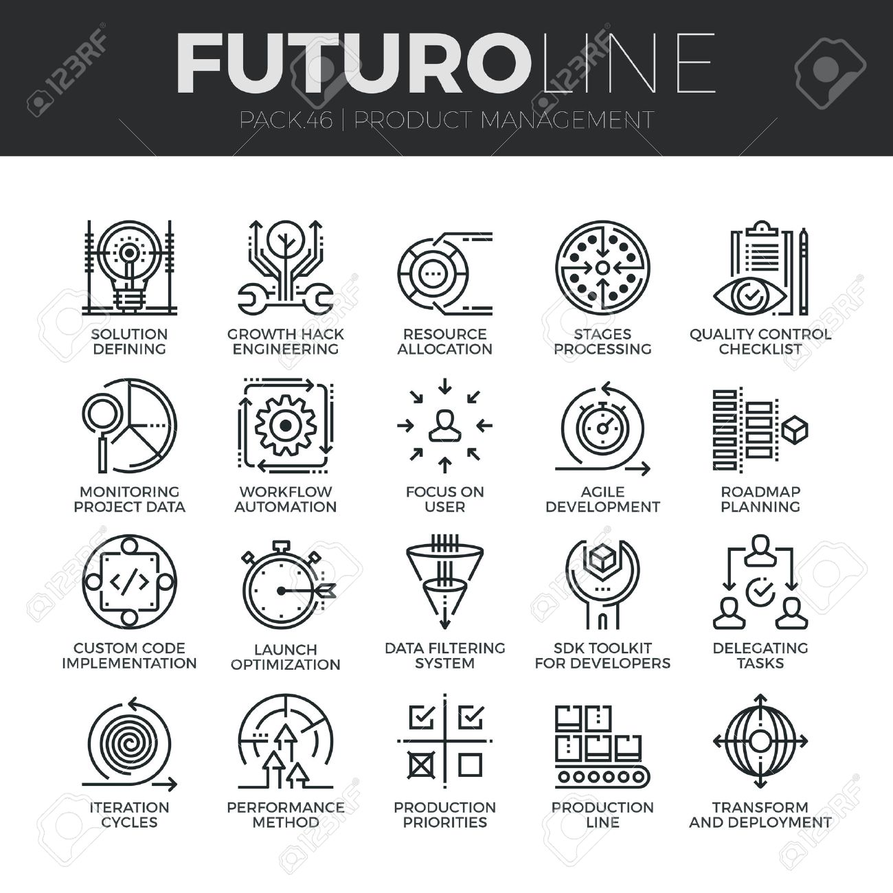 Modern thin line icons set of production management, project quality control. Premium quality outline symbol collection. Simple mono linear pictogram pack. Stroke concept for web graphics. - 54788329