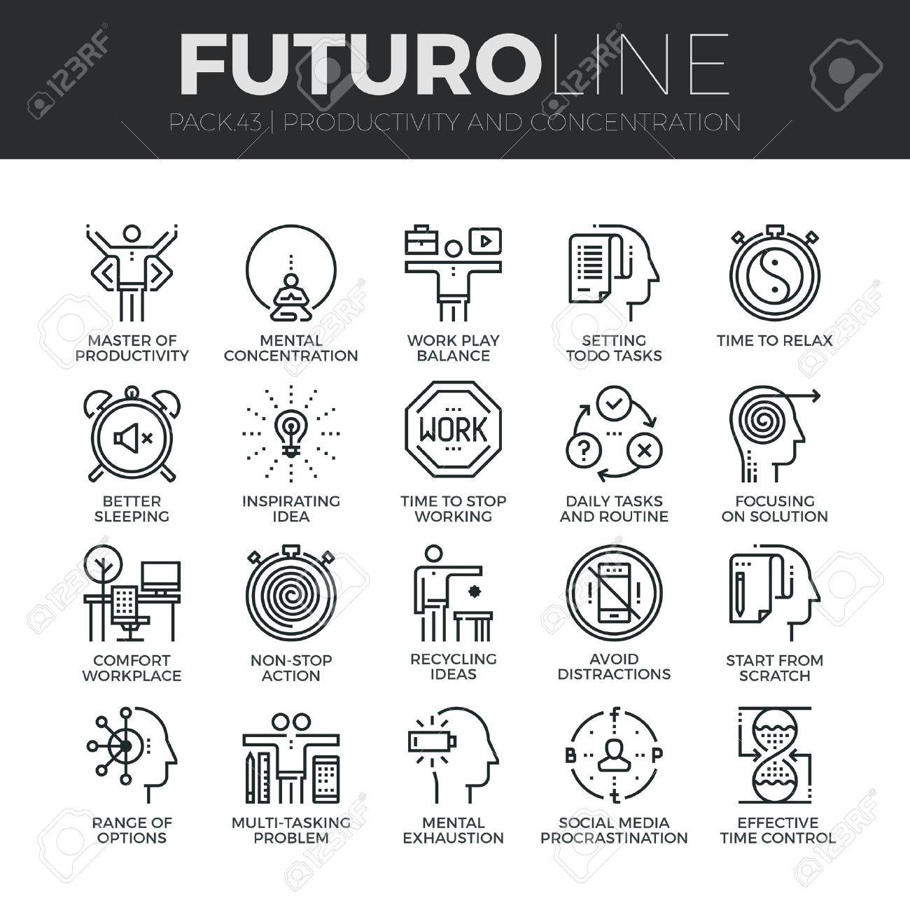 Modern thin line icons set of task productivity, get things done, concentration. Premium quality outline symbol collection. Simple mono linear pictogram pack. Stroke concept for web graphics. - 54788331