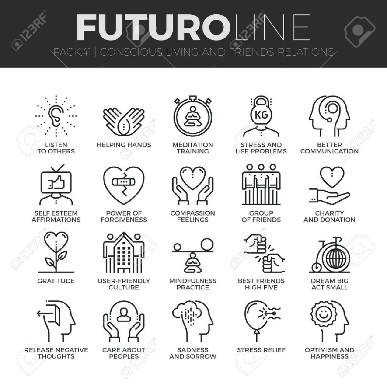 Modern thin line icons set of conscious living, friends relations and emotions. Premium quality outline symbol collection. Simple mono linear pictogram pack. Stroke concept for web graphics. - 54788330