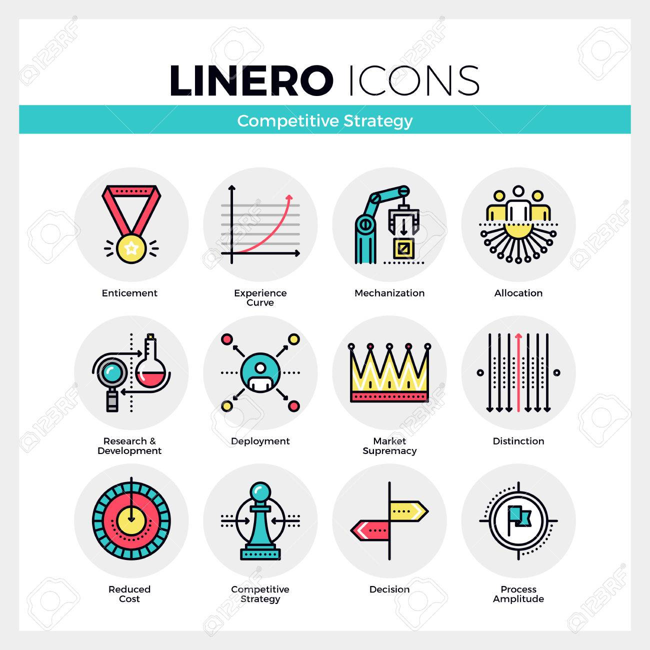 Line Icons Set Of Business Strategy, Competitive Advantage. Modern ...