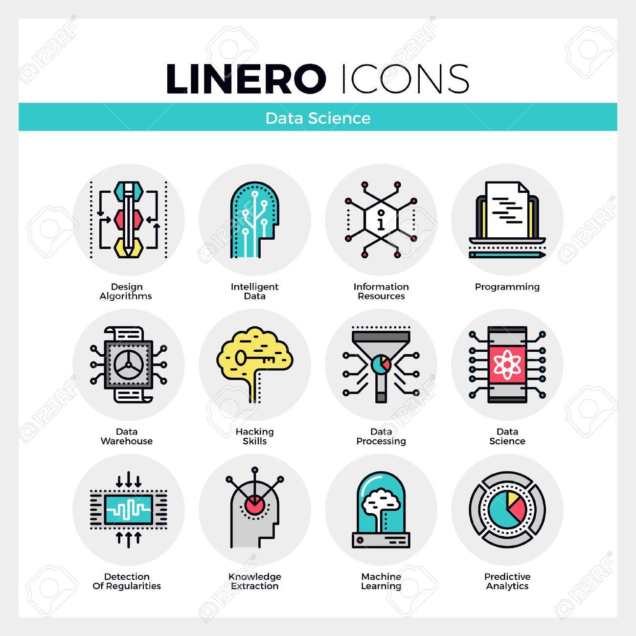 Line icons set of intelligent data science, machine learning. Modern color flat design linear pictogram collection. Outline vector concept of mono stroke symbol pack. Premium quality web graphics material. Stock Vector - 56016057