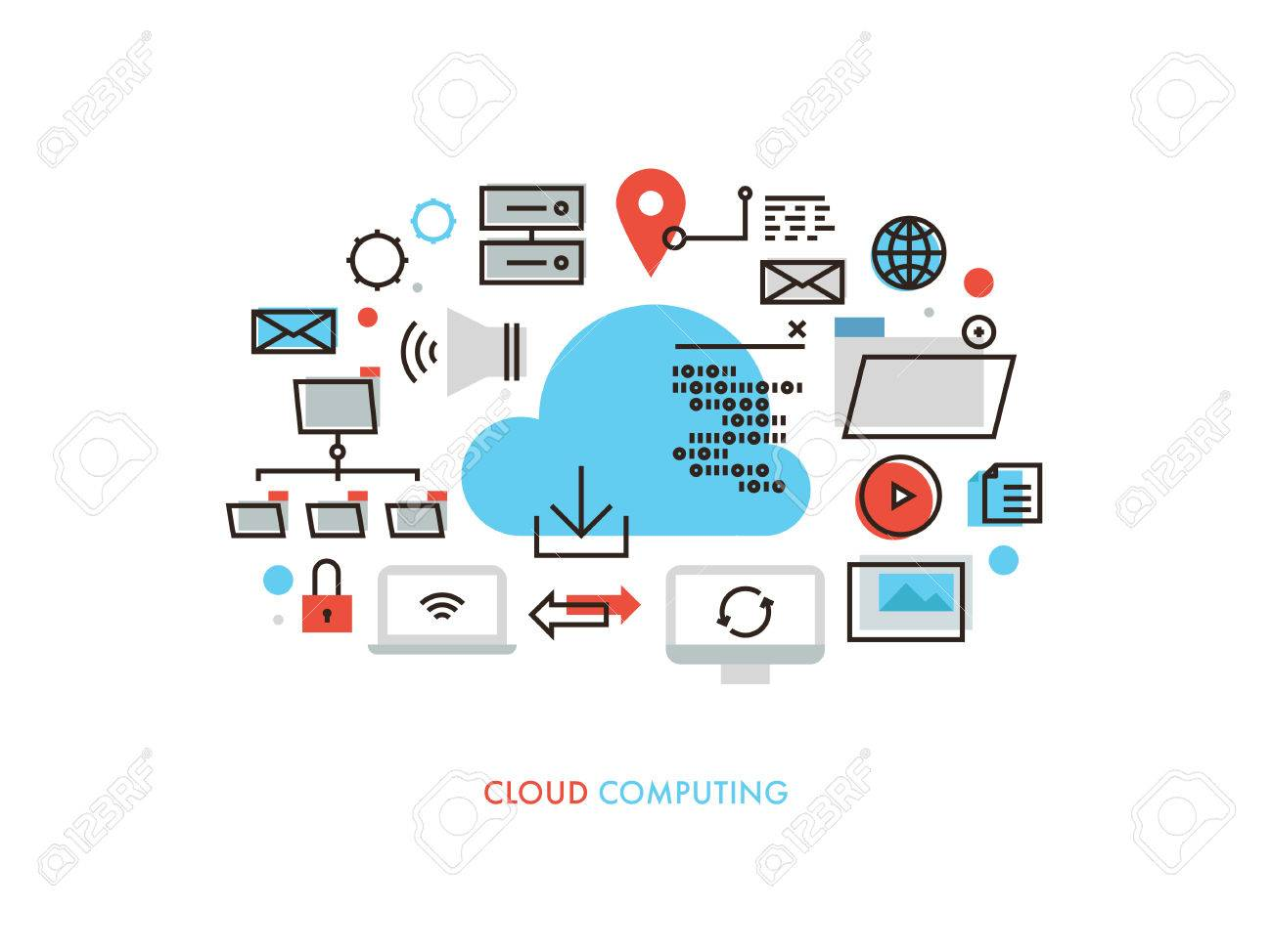 Thin Line Flat Design Of Cloud Computing Datum Architecture, Internet  Network Security Connection For Worldwide