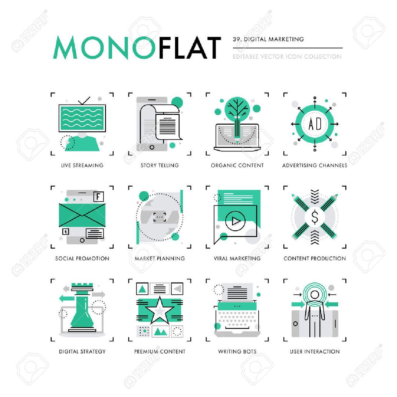 Infografik-Symbole Sammlung Von Premium-Marketing-Content-Strategie ...
