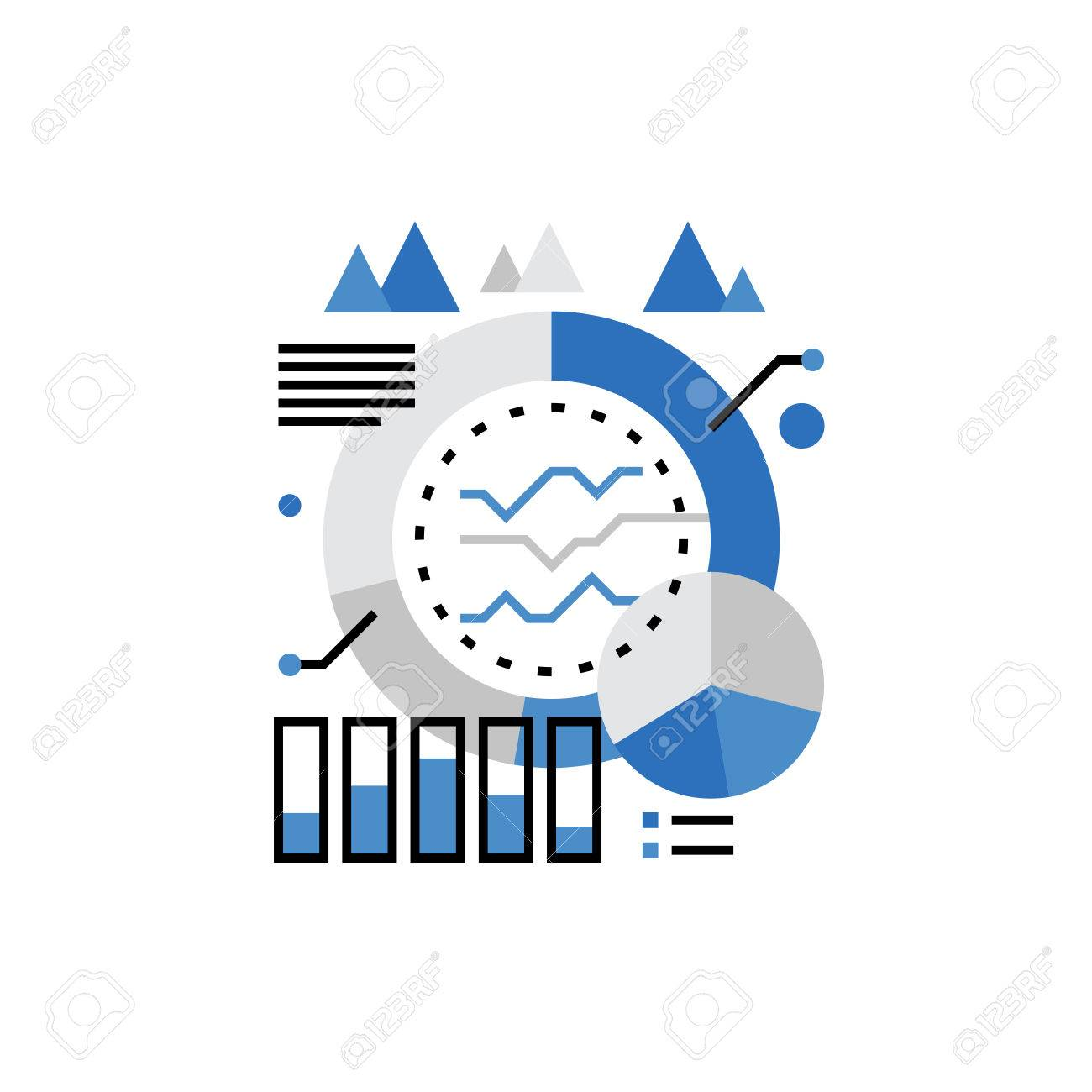 Modern vector icon of marketing campaign statistics showed as graphs and charts. Premium quality vector illustration concept. Flat line icon symbol. Flat design image isolated on white background. - 66079250