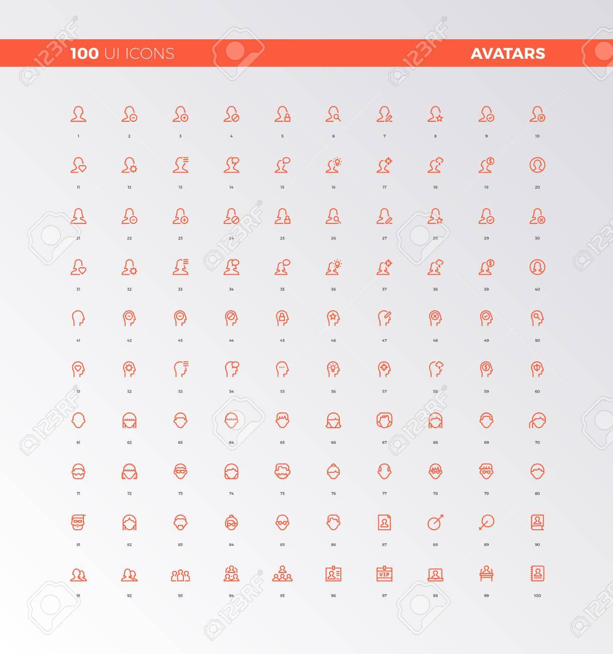 UI icons of human heads, people avatars  UX pictograms for user