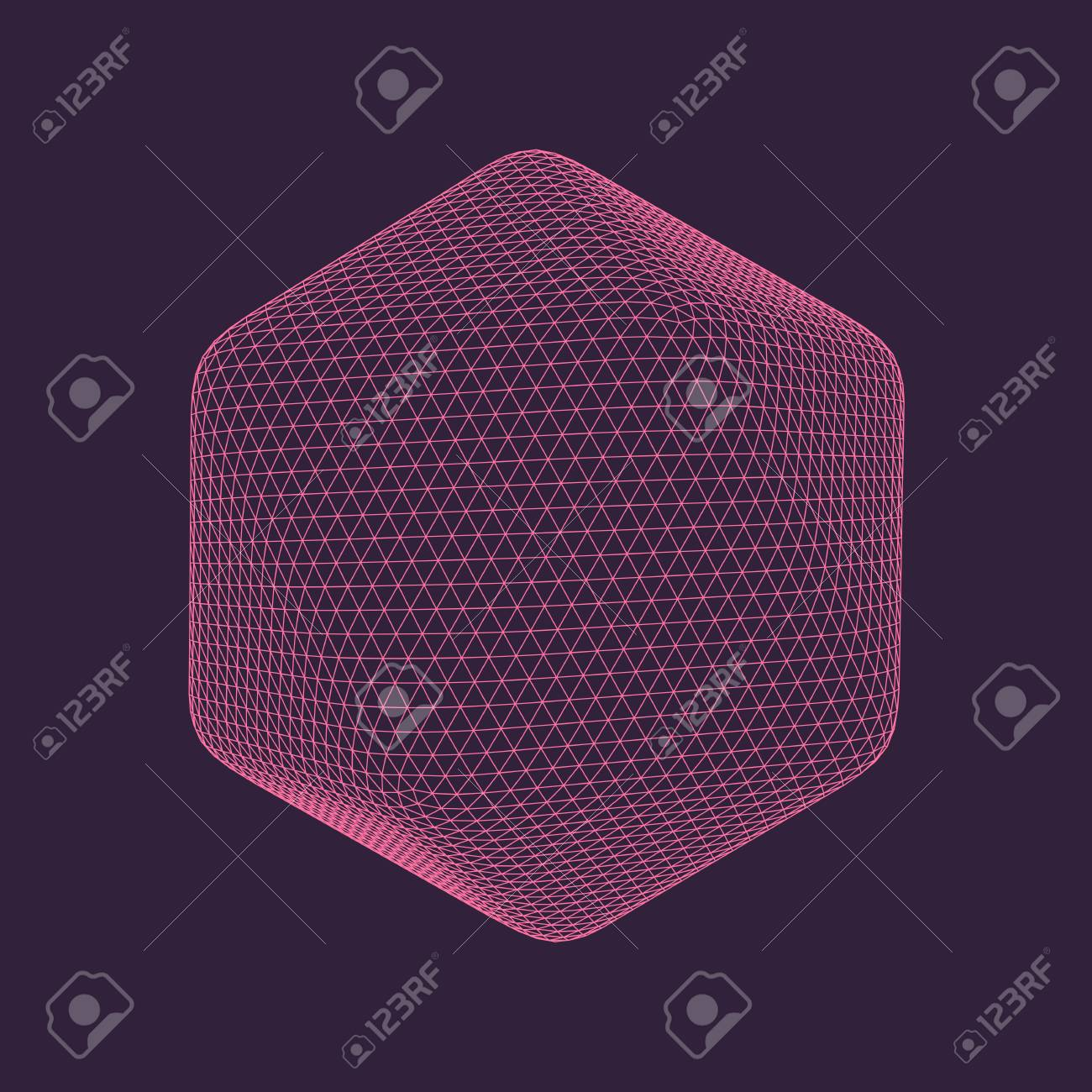 Vector illustration of Icosahedron, regular platonic solid figure. Three-dimensional transparent object. Abstract polygonal shape and simple geometric form. Isolated on colored background. - 93080693