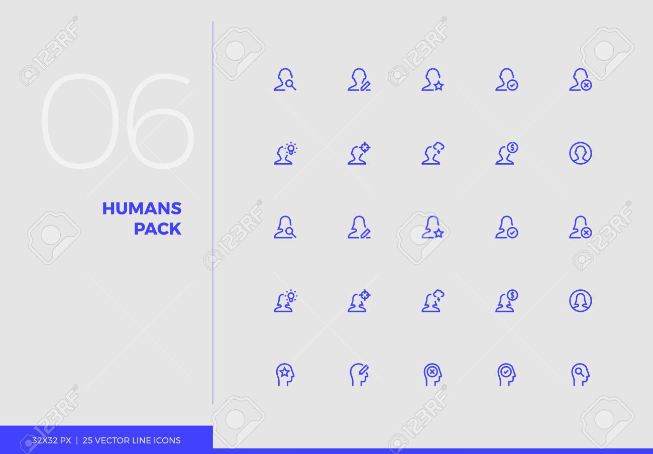 Simple line UI icons pack of human heads, people avatars  Vector
