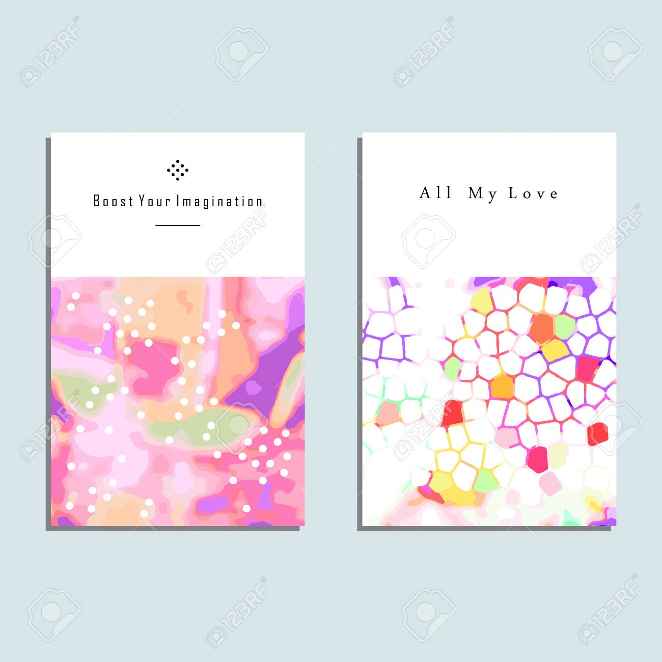 Set of artistic vector greeting cards design colorful frame pattern set of artistic vector greeting cards design colorful frame pattern textures for wedding anniversary kristyandbryce Images