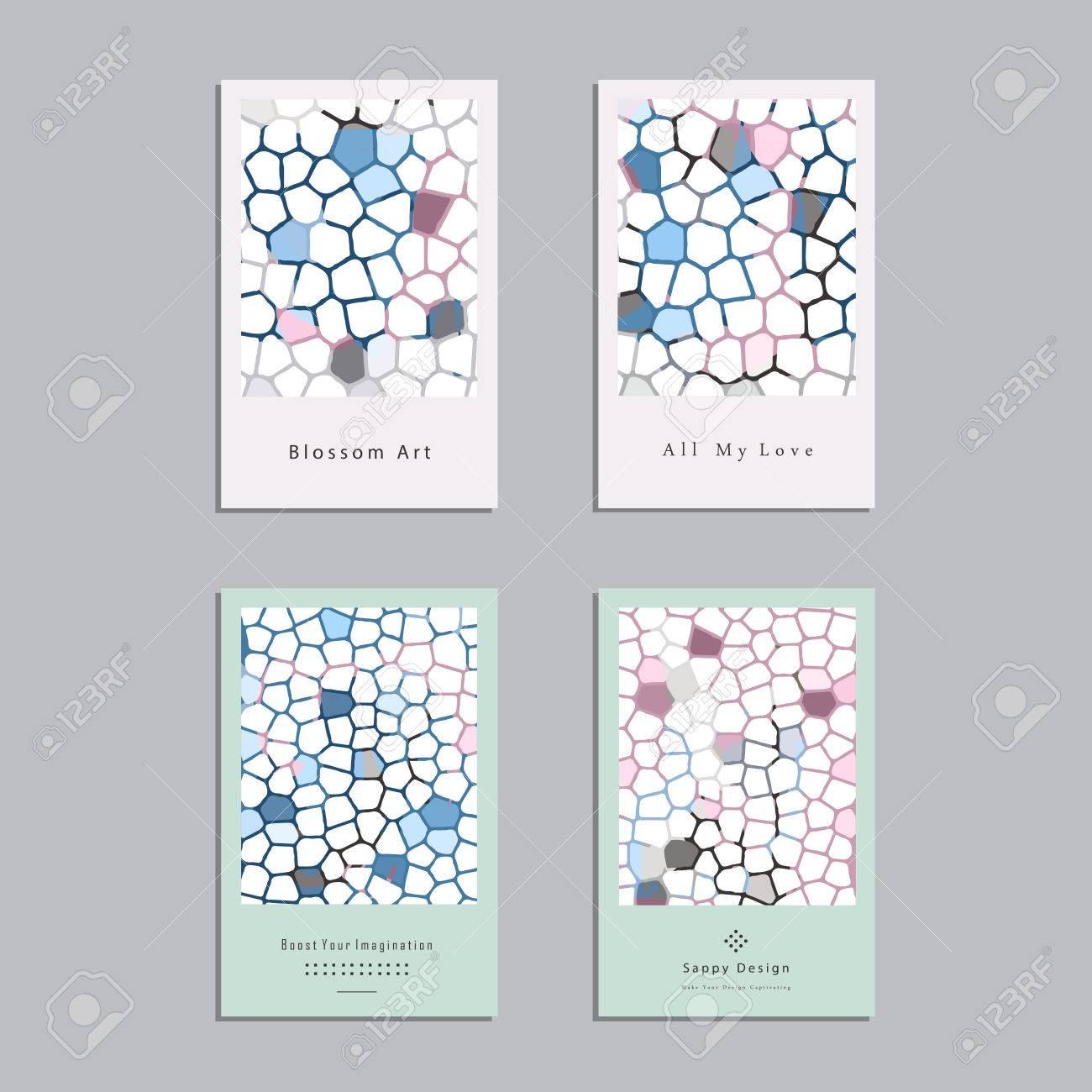 Reihe Von Künstlerischen Vektor Grußkarten Design. Bunte Rahmen Muster  Texturen Für Hochzeit,