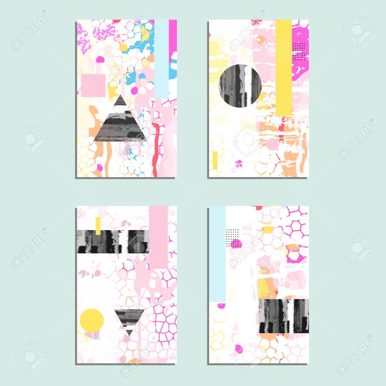 Set Of Artistic Vector Greeting Cards Design Colorful Frame