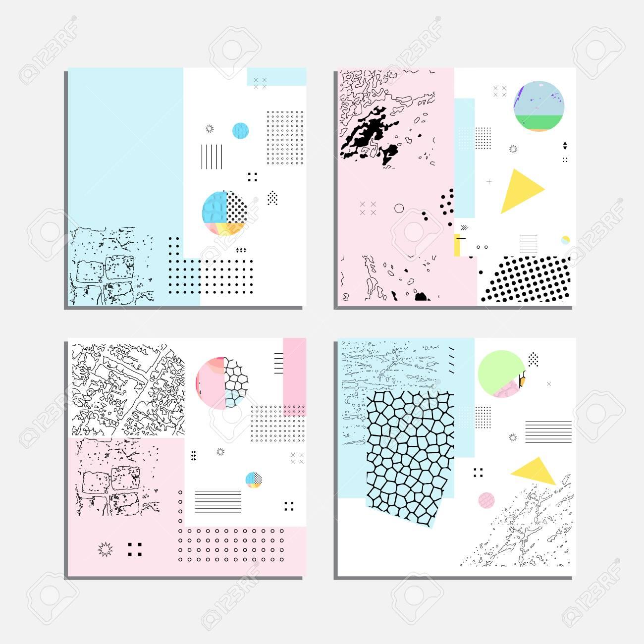 Artistic Vector Greeting Cards Design Set Colorful Frame Pattern
