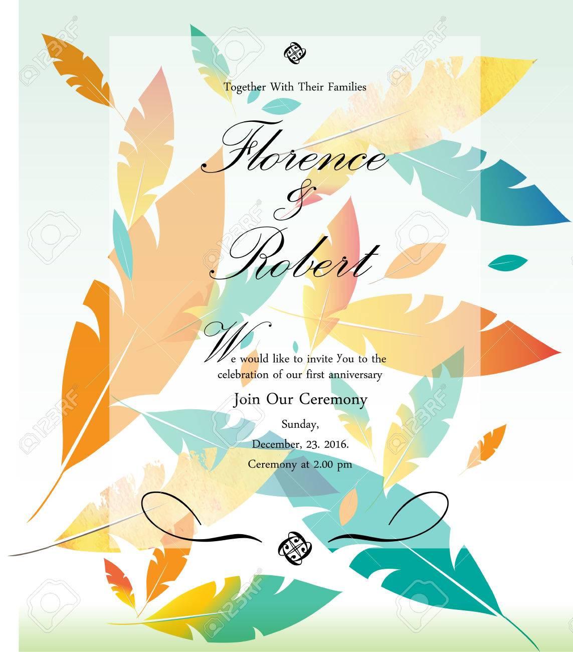 Colorful Wedding Invitation Vector Illustration, Creative Background ...