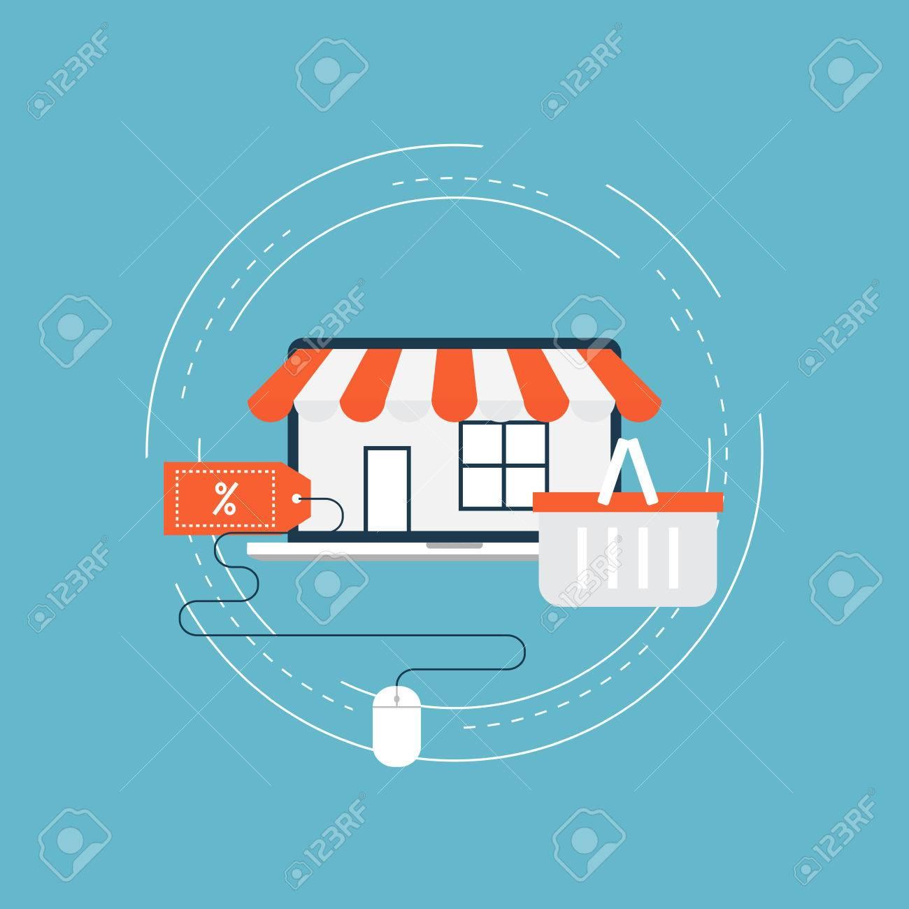E-commerce Flat Vector Illustration Design. Online Shopping ...