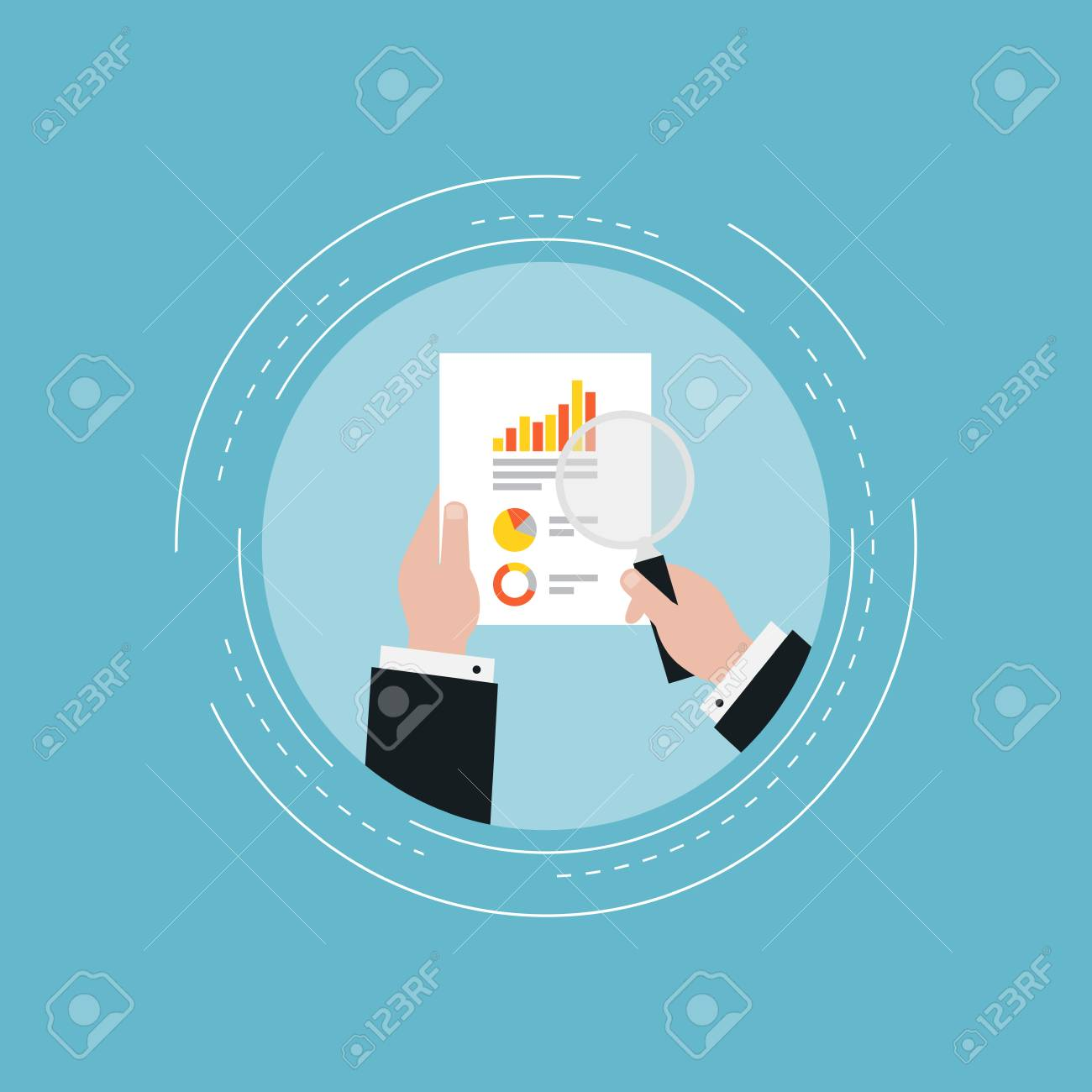 business graph statistics flat vector illustration design business