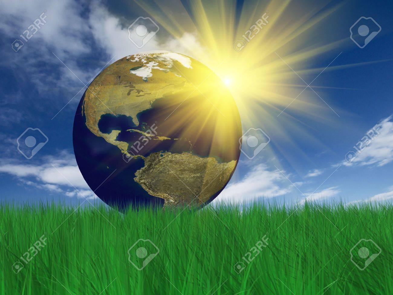 Globe on grass. Grass 3D rendering Stock Photo - 4610792