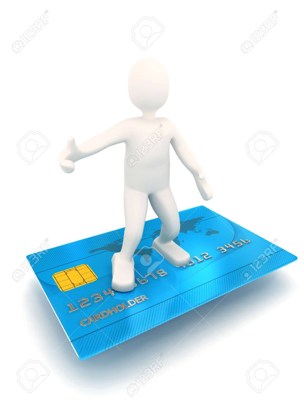 3d person on credit card. Rendered image Stock Photo - 6809378