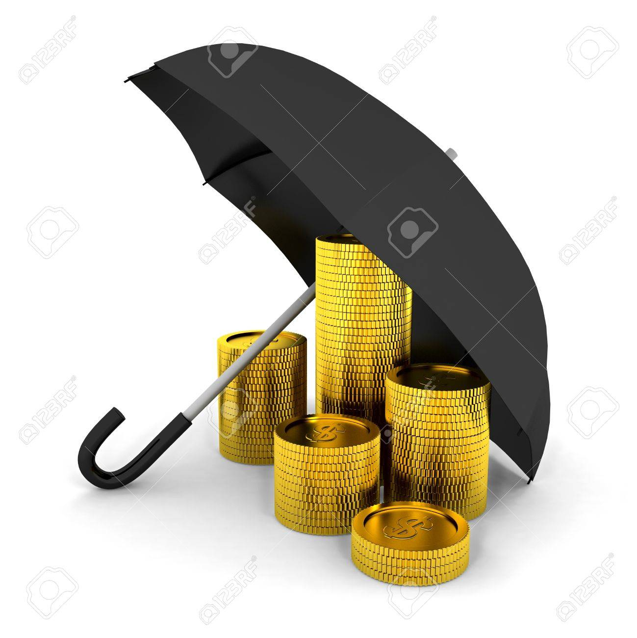 Pile of coins under a umbrella. 3d render Stock Photo - 7116420