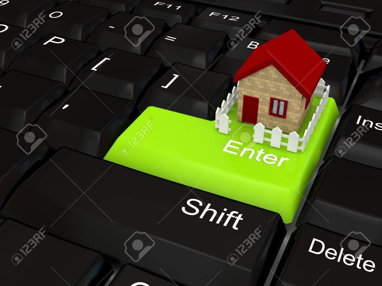 Keyboard - green key. 3d rendered image Stock Photo - 7169622