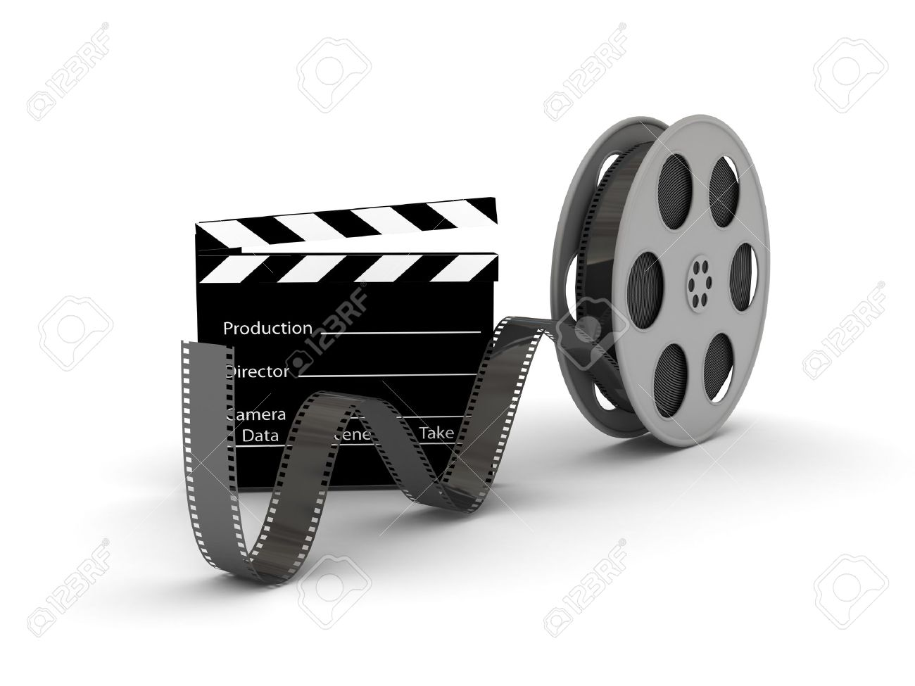 Film Slate With Movie Film Reel 3d Rendered Image Stock Photo