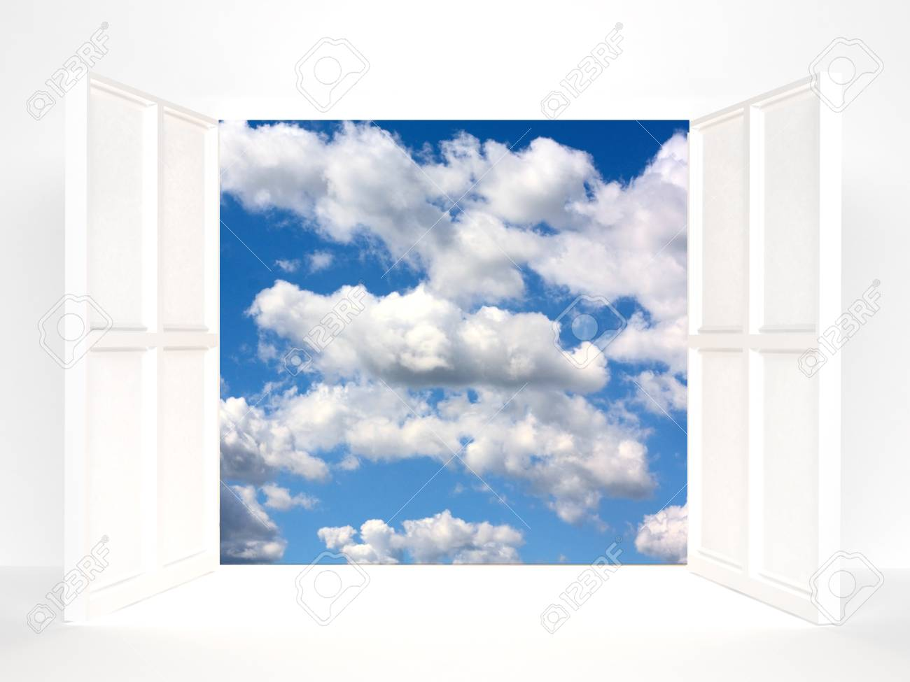 Open doors and sky. 3d rendered image Stock Photo - 7774892
