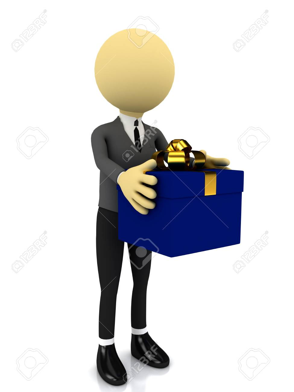 3d person with present over white. rendered image Stock Photo - 8357232