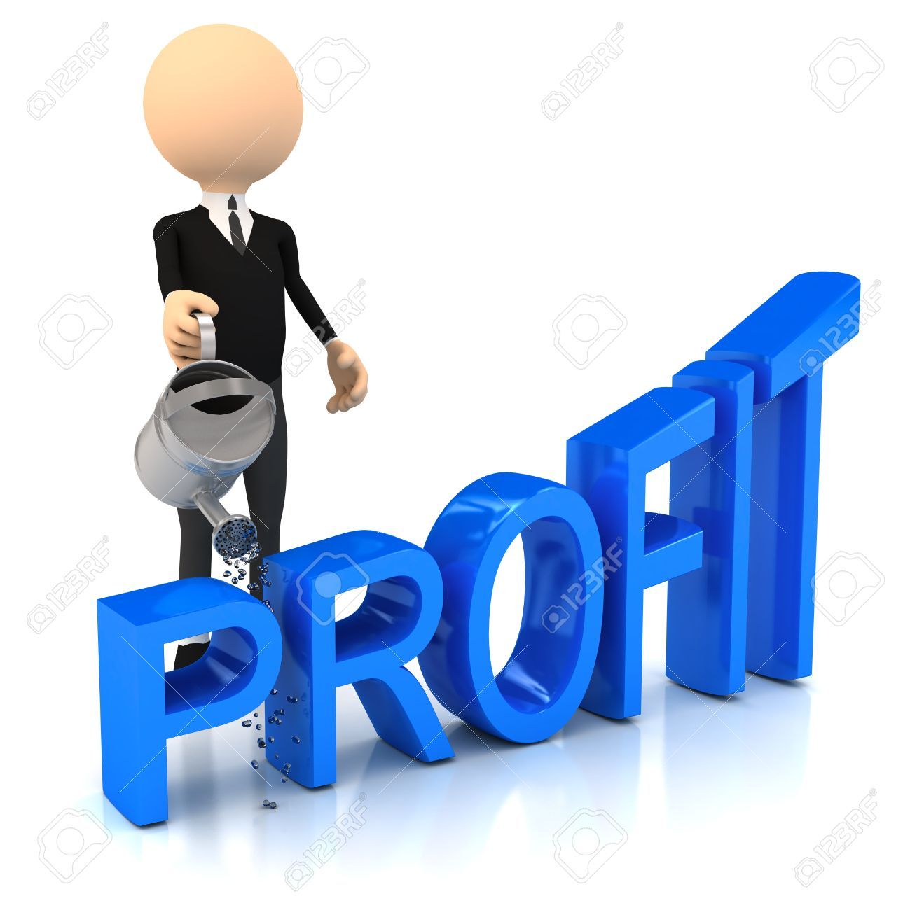 3d person raise profit. computer generated image Stock Photo - 10184854
