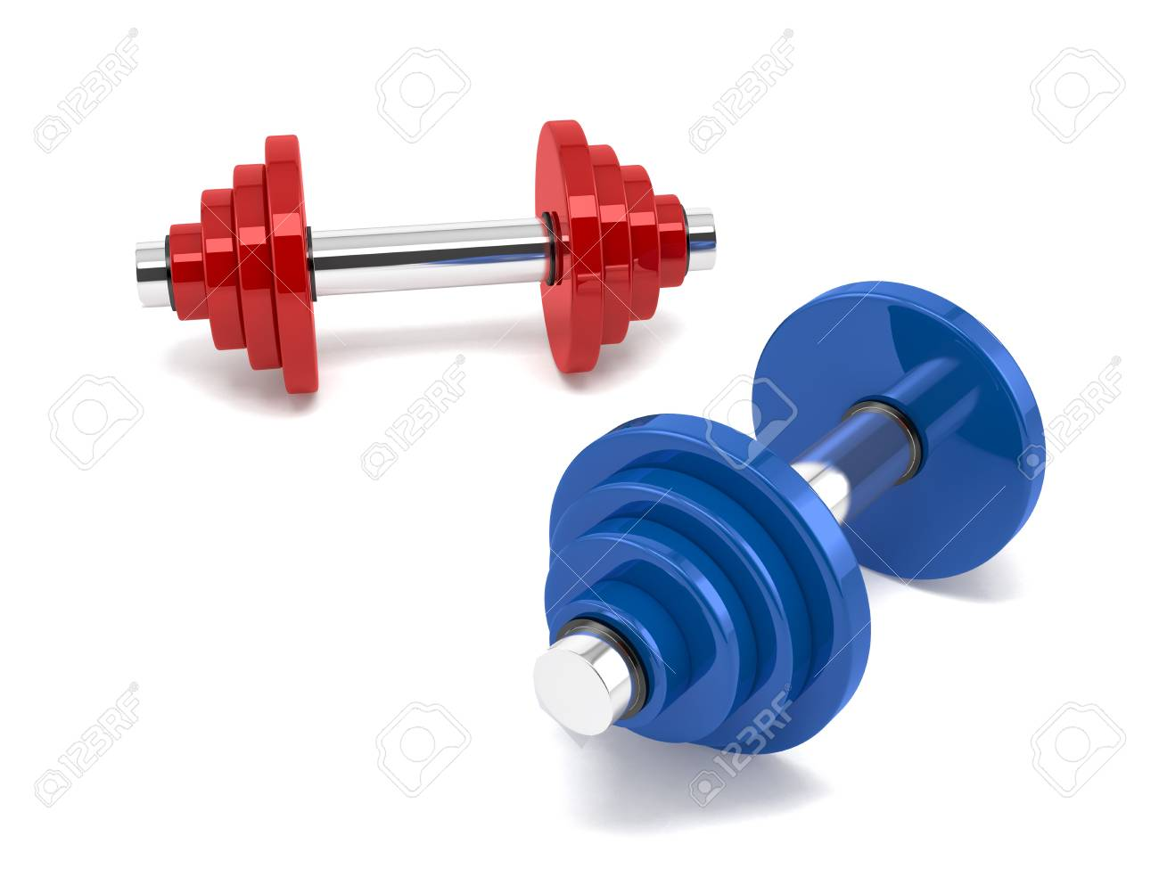 Two dumbbells over white background Stock Photo - 19747395