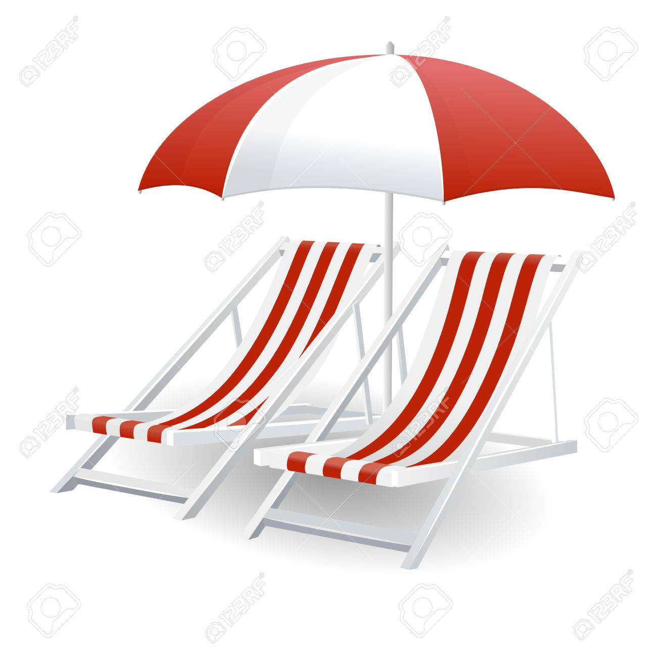 Chair beach umbrella and chair black and white - Chair And Beach Umbrella Isolated On White Stock Vector 29427402