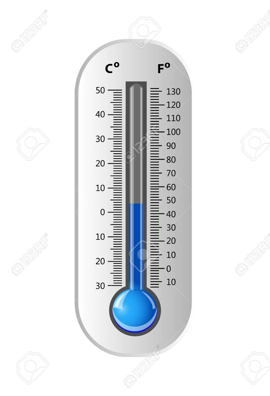 celsius and fahrenheit thermometer white vector illustration
