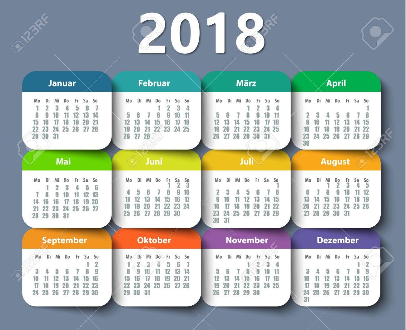 calendar 2018 year german week starting on monday stock vector 85349828