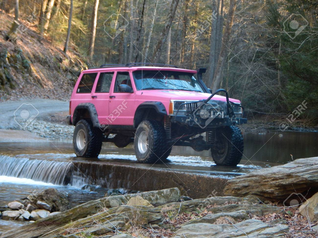 Sassy Pink Jeep Cherokee Sport Xj Stock Photo Picture And Royalty