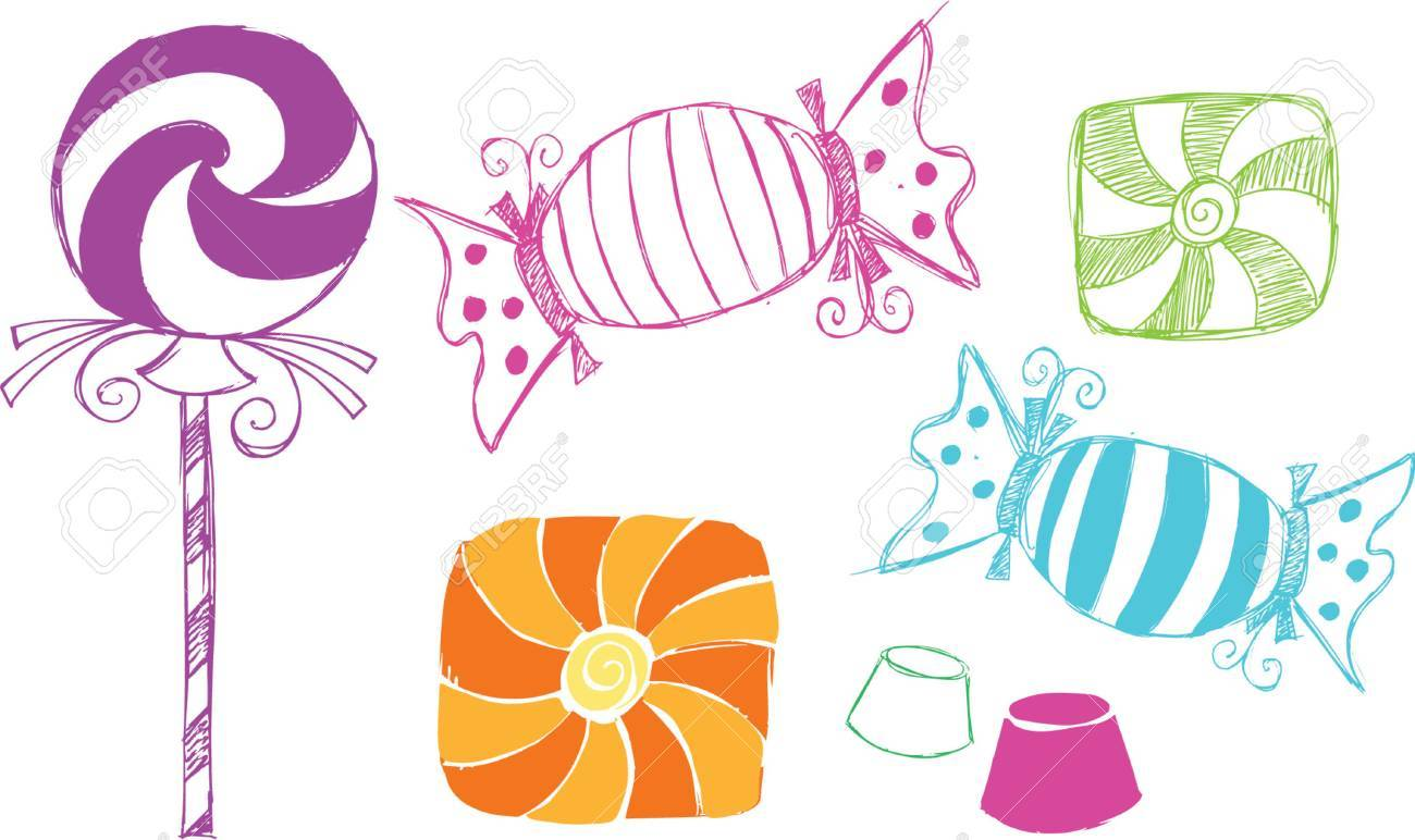 Candy Sketchy Style Vector Illustration - 922155