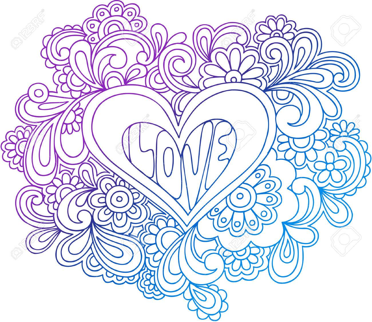 Psychedelic Heart Outline Vector Illustration Stock Vector - 3355719